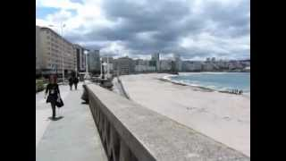 La Coruna Spain  city photos : La Coruna, Spain - walking along the main beach of La Coruna