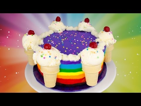 Rainbow Ice Cream Cake Recipe: How to Make a Rainbow Ice Cream Cake from Cookies Cupcakes and Cardio