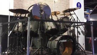 Nicko McBrain's Sonor kit at NAMM 2016, what a masterpiece!