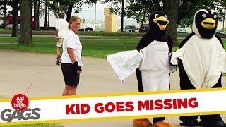 Kid Hides in a Halloween Penguin Suit Trick!
