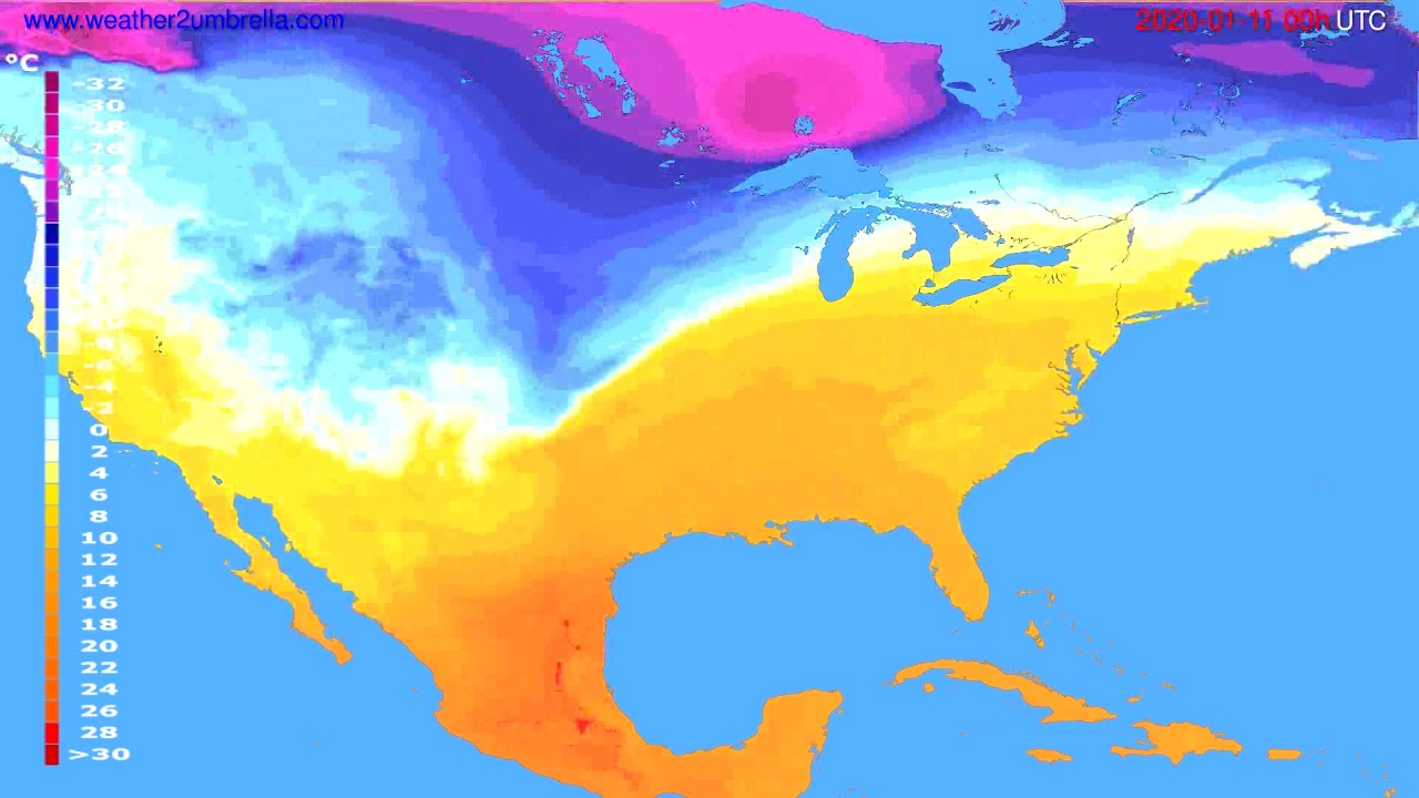 Temperature forecast USA & Canada // modelrun: 00h UTC 2020-01-10