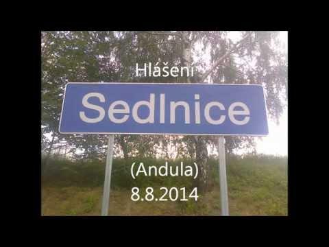 Hlášení na zastávce Sedlnice (Andula) + fotky nové zastávky - 8.8.2014