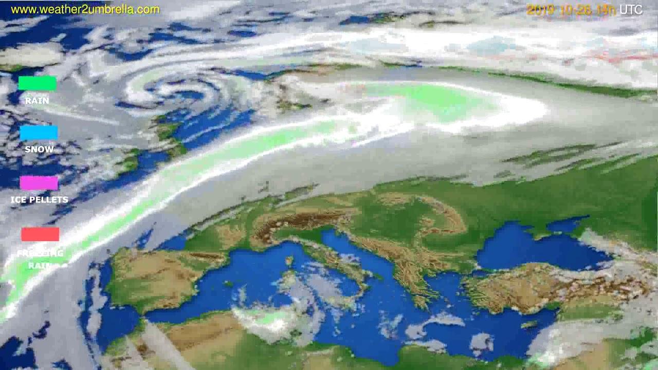 Precipitation forecast Europe // modelrun: 12h UTC 2019-10-24