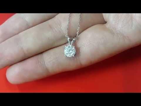 1 Carat Diamond Pendant D SI2 Necklace Chain Solid 14k White Gold Round Cut 17