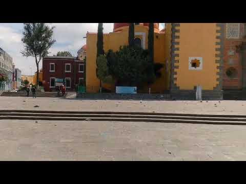 Se cae torre de iglesia tras sismo en San Fco Puebla