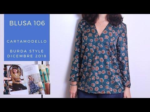 Blusa con piega centrale 106 | Cartamodello Burda Style Dicembre 2018 | Un punto alla volta