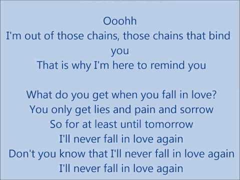 Glee - I'll never fall in love again - Lyrics