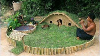 Build Mini House For Puppies with Mini Water Fall's Red Fish Pond