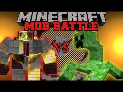 Mutant Creeper Vs. Big Golem - Minecraft Mob Battles - Arena Battle