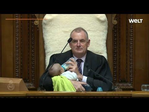 Neuseeland: Parlamentspräsident Mallard macht den Babysitter