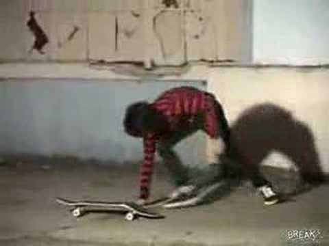 acidburnben - So this skater accidentally breaks his day old skateboard, he decided to finish it off, but the skateboard has other plans.