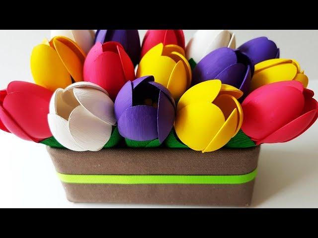 Очень легко и просто делаем весенние цветы. Тюльпаны своими руками, своими руками, самоделки, поделки, легко, просто, лайфхаки, сделай сам, с детьми, красиво, декор, подарок, сюрприз, на праздник, дизайн, цветная бумага, урок, инструкция, как сделать, пошаговая инструкция, день валентина, 8 марта, день рождения, тюльпаны, easy, funny, handmade, craft, lifehack, with kids, beautiful, decor, inspiration, gift, surprise, colored paper, design, tutorial, step by step, how to, how to make, creative, diy, birthday