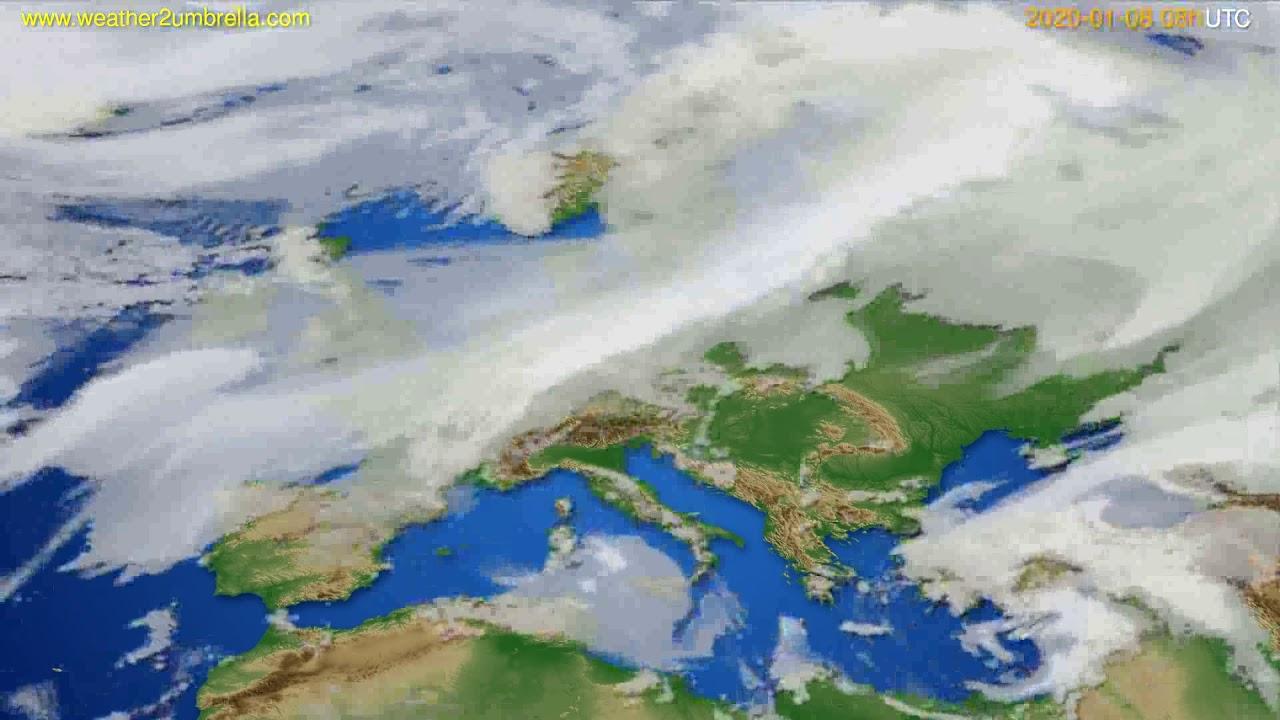 Cloud forecast Europe // modelrun: 12h UTC 2020-01-07
