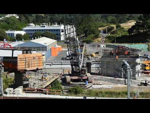 Steel bridge girder installation – Kenepuru