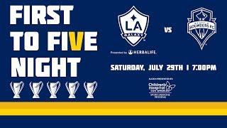 The LA Galaxy will host First to Five Night at StubHub Center when they face Seattle Sounders FC on Saturday, July 29 at 7 p.m. PT live on ESPN as they celebrate players from each of the club's record five MLS Cup-winning teams. Tickets are available at LAGalaxy.com/tickets.Want to see more from the LA Galaxy? Subscribe to our channel at http://www.youtube.com/LAGalaxy.Facebook: http://www.facebook.com/lagalaxyTwitter: http://www.twitter.com/lagalaxyWant to check out a game? Visit http://www.lagalaxy.com to view upcoming matches and purchase tickets!