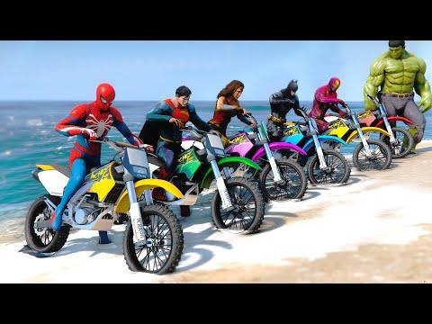 Superheroes Dirt Bike Challenge SpiderMan, Iron Man, Wonder Woman, Hulk and Superman - GTA V MODS