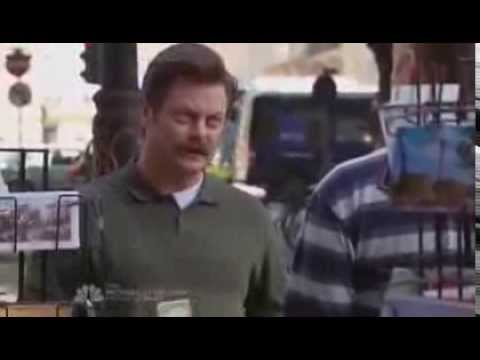 Ron Swanson buys a postcard in London