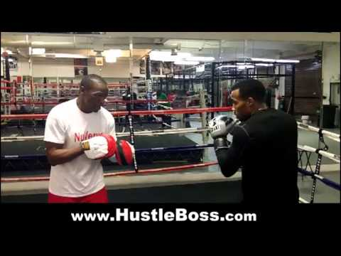 Floyd Mayweather Sr. guiding Mickey Bey on the mitts [Mayweather Boxing Club - January 2013]