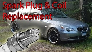 Save yourself $1000 by doing it yourself, crazy! It is easy!Spark Plugs: http://amzn.to/2bJHEQvIgnition Coils: http://amzn.to/2bROt0N (Make sure this is right for your VIN)--- REMOVE AIR FILTER HOUSINGS FOR ACCESS ---In order to remove the BMW E60 engine cover(s), you first have to remove the cabin microfilter housing. This video shows 6-cylinder model. The cabin microfilter housing remains the same throughout all years. First, we will remove the cabin microfilter housing.Working on the left side of the engine bay, locate the cabin microfilter lid.Lift the BMW 5-series cabin microfilter lid to remove it.Working at the right side lid, disconnect the hood switch electrical connector by squeezing the release tab and pulling it straight off the switch.Working at the center of the cabin microfilter housing on the BMW E60, lift the wire harness shield up in the direction of the green arrow to remove it.Working at the center of the cabin microfilter housing, remove the center support by releasing the locking tab and sliding it in the direction of the yellow arrow.Pull the rubber seal off the cabin microfilter housing to remove it.Working at the left side of the wiper cowl, remove the T25 Torx screw.Working under the BMW E60 hood strut, pull the rubber drain up to remove it.Lift up the lower microfilter housing to remove it from the vehicle.Once removed, be sure the drains are clean and not full of debris like my vehicle.Using a trim panel tool, remove the center rivet from both wiring harness bracket-mounting rivets.Pull the mounting bracket off the support brace of your BMW E60.Rock the plastic engine cover until it is free.--- REPLACING THE SPARK PLUGS AND COILS ---BMW E60 models equipped with a 6-cylinder engine utilize an individual ignition coil for each spark plug, referred to as coil over plug (green arrows). When servicing your spark plugs be sure the engine is cool and leave yourself about an hour to do the job. Be careful not to drop a spark plug. If you do, repl