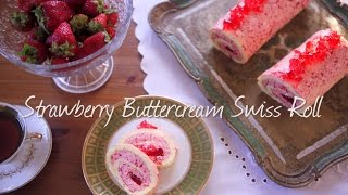 How to Make Strawberry Buttercream Swiss Roll