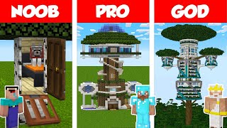 Minecraft NOOB vs PRO vs GOD: MODERN TREE HOUSE BUILD CHALLENGE in Minecraft / Animation