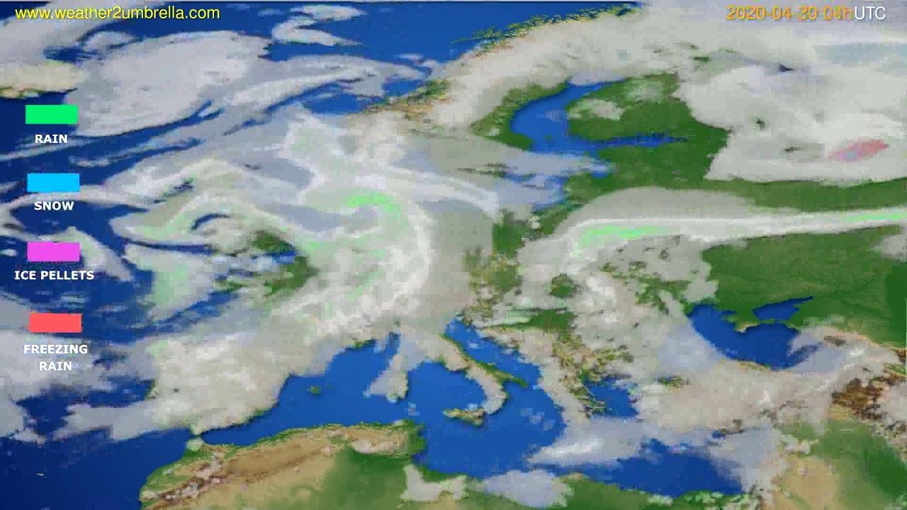 Precipitation forecast Europe // modelrun: 12h UTC 2020-04-29