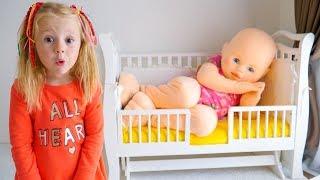 Настя и странный сон про куклу пупсика Nastya and a strange dream pretend play with funny giant doll