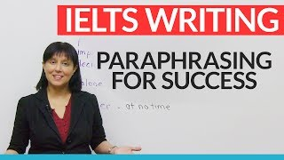 Watch this lesson to get a better score on your IELTS or TOEFL essay. Learn how to generate key vocabulary from the essay question itself! Avoid the ONE BIG MISTAKE made by thousands of students. Learn the art of paraphrasing through synonyms and boost your essay score. It's easier than you think, and the results will pay off in higher grades.IELTS COMPLETE FREE GUIDE: http://www.goodluckielts.comTOEFL COMPLETE FREE GUIDE: http://www.goodlucktoefl.comTAKE THE QUIZ: https://www.engvid.com/vocabulary-for-ielts-toefl-essay-success/TRANSCRIPTHi. I'm Rebecca from www.engvid.com. Do you want to get a higher score on your TOEFL, or IELTS, or TOEIC essay? In the next five minutes I'm going to show you how to do this in a really easy way. You just have to follow two easy steps. Take your essay question and find the key words there, and then replace them with synonyms. Now, that might seem very easy and obvious, but you'd really, really be surprised to know that lots of students don't do that. What they do instead is that throughout their essay they keep using the same words that are used in the essay question. And if you do that, what you're showing is that you don't have a very good vocabulary, you don't have a rich vocabulary, you don't use... You don't have many synonyms to express the same ideas and thoughts. And what you need to do instead is to show off your vocabulary, and the way you can do it is to take the question, find the key words and make sure that you can generate lots of synonyms for those key words, because if you can do that then you'll use all those kind of synonyms throughout your essay instead of repeating the same vocabulary. Isn't it kind of a shame when you only have maybe 250 words on your IELTS essay or 300 to 350 on your TOEFL essay to keep using the same vocabulary? Don't do that. Learn to do something a little bit differently.Let's see how to do it. Okay? So I've got a sample question, here, from the TOEFL exam. A part of the question. This is..