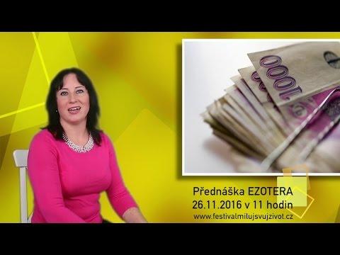 Pozvánka na přednášku Peníze-hojnost-blahobyt na prodejní výstavě EZOTERA