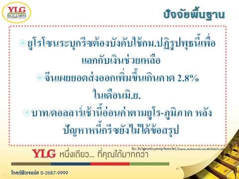 YLG บทวิเคราะห์ราคาทองคำประจำวัน 13-07-15
