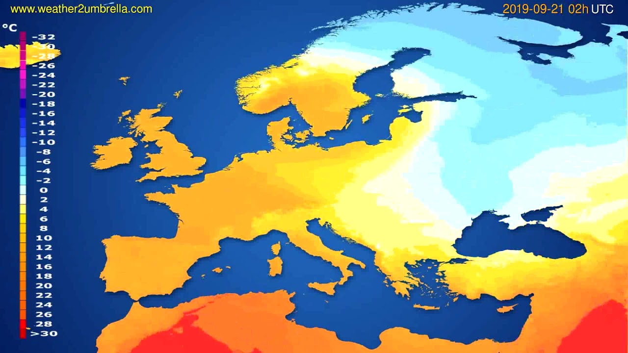 Temperature forecast Europe // modelrun: 00h UTC 2019-09-18
