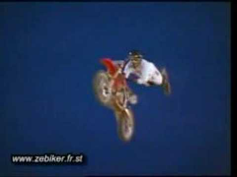 Amazing superman on motorbike jumping and crashing