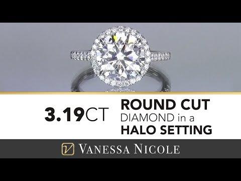 3.19ct ROUND HALO ENGAGEMENT RING   A Huge Halo Diamond Ring   Vanessa Nicole Jewels