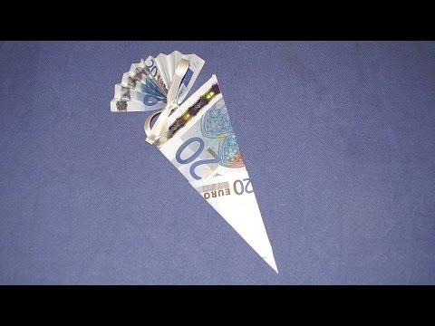 Geldgeschenke: Schultüte aus Geldscheinen falten