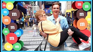 """We spent the day in Times Square with M&M'S, Thanks to M&M'S for sponsoring this video!Check out new M&M'S Caramel and join the fun on Blippar: http://bit.ly/KevinBlipparJOIN THE DRONIAK FAMILY!: http://bit.ly/1UV2DvZBUSINESS INQUIRES: business@bigfra.meFOLLOW ME TO KEEP UPDATED :) -------------------------------------------------------------------twitter: https://twitter.com/KevinDroniakinstagram: https://www.instagram.com/kevindroniak/LILL's instagram: https://www.instagram.com/grandma_droniaksnapchat: kdron64I HAVE A VLOG CHANNEL TOO! BE SURE TO SUBSCRIBE :Phttps://www.youtube.com/user/waitimkevin---------------------------------------------------------------------THESE ARE MY PROMO CODES. YOUR WELCOME!FREE uber ride with my code: """"KEVIND1363""""LOVE YOU ALL SO MUCH!"""