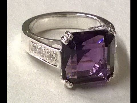 WHITE GOLD'S RING WITH AMETHYST AND DIAMONDS , HANDMADE