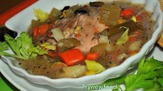 Hearty Chicken and vegetable soup, perfect to warm you up this winter! The spices- cinnamon, basil and parsley- give an extra flavor to this soup.Please like us on Facebook https://www.facebook.com/pages/Trynewfood/271917062842922.