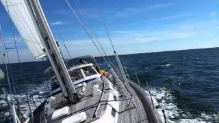 Hallberg Rassy 53 sailing approaching New York from Ambrose light