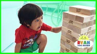 GIANT JENGA CHALLENGE! Parent vs Kid Family Fun Game for Kids