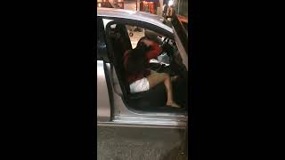 Drunk Girl Tries To Hijack An Uber and Destroys His Car!