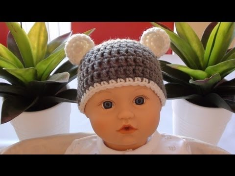 Crochet Baby Beanie with Ears - Crochet Bear Ears