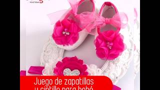Juego de zapatillas y cintillo para bebés