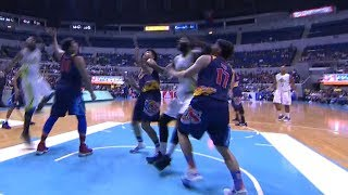 Chris Tiu goes down after being hit hard by Malcolm White in the face! | PBA Commissioner's Cup 2018