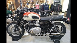 3. 2018-2019 Triumph Bonneville T100 | White / Orange