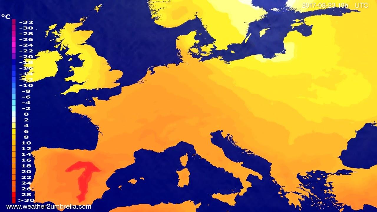 Temperature forecast Europe 2017-08-20