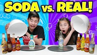 SODA VS. REAL CHALLENGE!!! 13 Weird Soda Flavors!