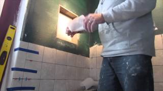 How to build a recessed niche in a tile shower start to finish.