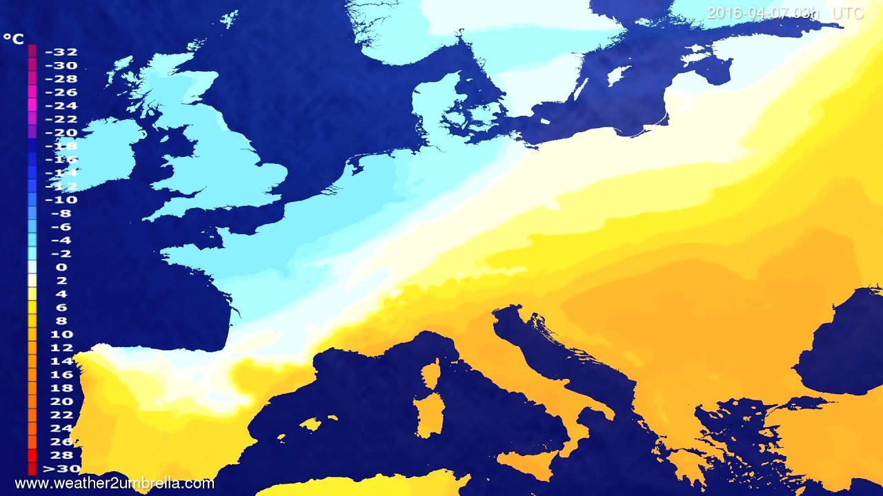 Temperature forecast Europe 2016-04-04