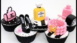 """Hi! Today I bring you a video of how to make Chanel inspired cupcake toppers like high heel sandals, a nail polish, a pink purse, a perfume bottle and a bracelet using sugar paste. Thanks for watching!More videos from Cakes StepbyStep channel:Makeup Cupcakes- Cake Toppers/Cupcakes de Maquillaje!https://youtu.be/RzXm0Xfju4sMAKE UP Cosmetics Box Cake  *Pastel Caja De Maquillaje by Cakes StepbyStephttps://youtu.be/fdm_2z7wznoFashion TIFFANY Cupcakes Cake Toppers How To Make by Cakes StepbyStephttps://youtu.be/9_vLfFwASmk*To stay up to date with my latest videos, make sure to SUBSCRIBE to this YouTube channel (if you are not).*To find out more about the items I use, please visit: http://www.cakesstepbystep.com/*You can support this channel by sharing my videos. Thank you!*****************FOLLOW ME********************FACEBOOK     https://www.facebook.com/cakesstepbystep/*INSTAGRAM  http://instagram.com/cakesstepbystep/CakesStepbyStep is about cakes and cupcakes decorating with fondant and buttercream frosting. Also you can watch simple chocolate decoration techniques and cake recipes. Learn with me basic cake decoration techniques which will help you to decórate your own cake masterpiece. HAVE FUN! Music credit:""""Beachball""""Artist: Silver Dolphin Musichttps://www.youtube.com/user/silverdolphinmusichttp://silverdolphinmusic.weebly.com/License Creative Commons CC BYhttp://creativecommons.org/licenses/by/4.0/#""""Dreams Come True""""Artist: Silver Dolphin Musichttps://www.youtube.com/user/silverdolphinmusichttp://silverdolphinmusic.weebly.com/License Creative Commons CC BYhttp://creativecommons.org/licenses/by/4.0/#""""Fireworks""""Artist: Silver Dolphin Musichttps://www.youtube.com/user/silverdolphinmusichttp://silverdolphinmusic.weebly.com/License Creative Commons CC BYhttp://creativecommons.org/licenses/by/4.0/#"""