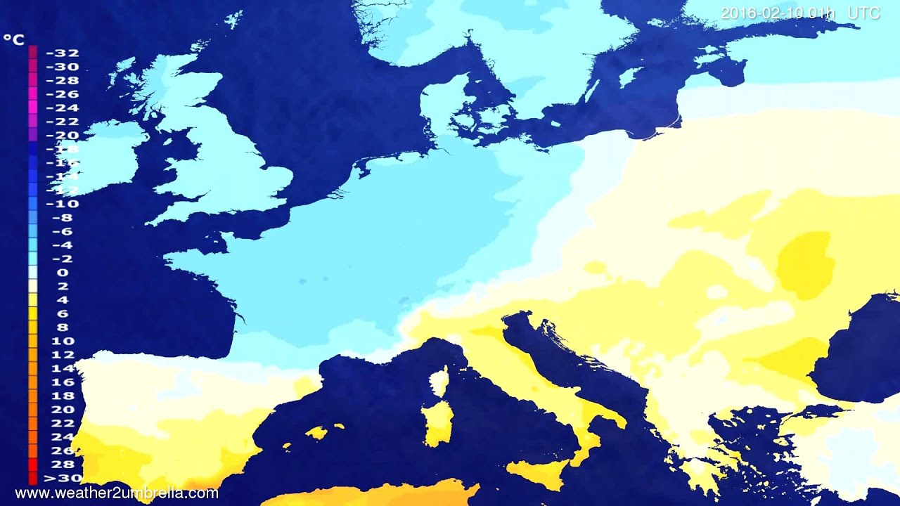 Temperature forecast Europe 2016-02-07